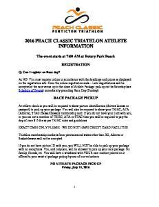 2016 PEACH CLASSIC TRIATHLON ATHLETE INFORMATION