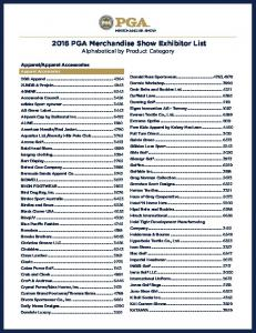 2016 PGA Merchandise Show Exhibitor List