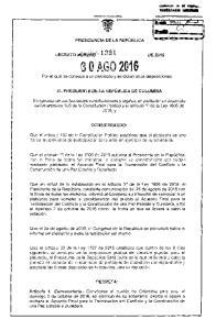 2016 Por el cual se convoca a un plebiscito y se dictan otras disposiciones