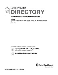 2016 Provider DIRECTORY