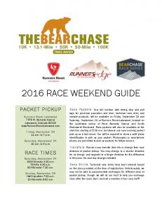 2016 RACE WEEKEND GUIDE