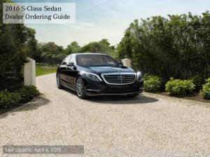2016 S-Class Sedan Dealer Ordering Guide