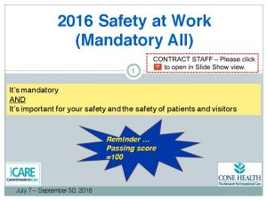 2016 Safety at Work (Mandatory All)