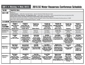 2016 SC Water Resources Conference Schedule