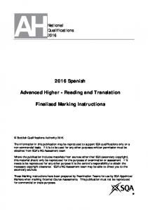 2016 Spanish. Advanced Higher - Reading and Translation. Finalised Marking Instructions