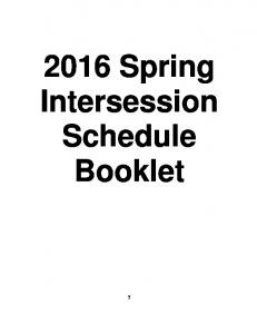 2016 Spring Intersession Schedule Booklet
