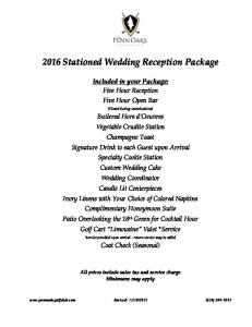 2016 Stationed Wedding Reception Package