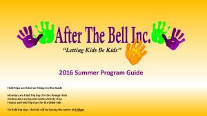 2016 Summer Program Guide