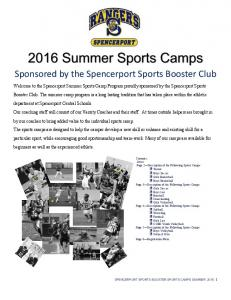 2016 Summer Sports Camps