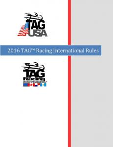 2016 TAG Racing International Rules