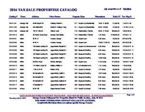 2016 TAX SALE PROPERTIES CATALOG