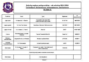2016 Technikum: ekonomiczne, informatyczne, mechaniczne KLASA II