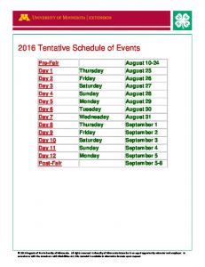 2016 Tentative Schedule of Events