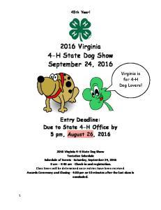 2016 Virginia 4-H State Dog Show. September 24, 2016
