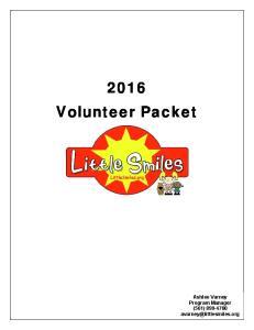 2016 Volunteer Packet