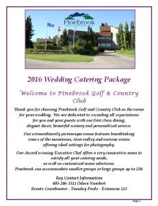 2016 Wedding Catering Package