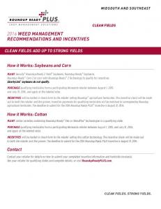 2016 WEED MANAGEMENT RECOMMENDATIONS AND INCENTIVES