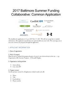 2017 Baltimore Summer Funding Collaborative: Common Application