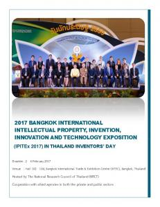2017 BANGKOK INTERNATIONAL INTELLECTUAL PROPERTY, INVENTION, INNOVATION AND TECHNOLOGY EXPOSITION