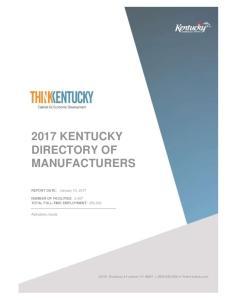2017 KENTUCKY DIRECTORY OF MANUFACTURERS