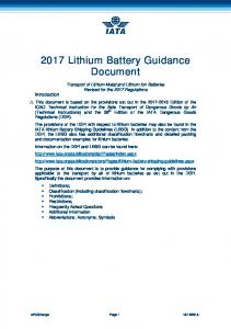 2017 Lithium Battery Guidance Document