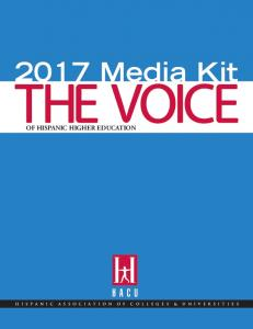 2017 Media Kit OF HISPANIC HIGHER EDUCATION