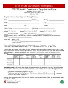 2017 Ohio 4-H Conference Registration Form Saturday, March 11, 2017 Greater Columbus Convention Center Columbus, Ohio