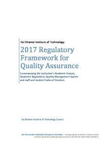 2017 Regulatory Framework for Quality Assurance