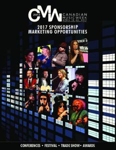 2017 SPONSORSHIP MARKETING OPPORTUNITIES