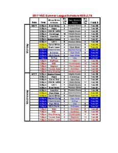 2017 VSC Summer League Schedule RESULTS