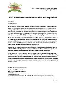 2017 WVSF Food Vendor Information and Regulations