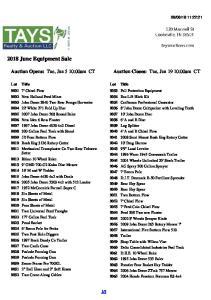 2018 June Equipment Sale