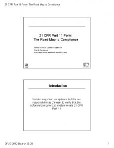 21 CFR Part 11 Form: The Road Map to Compliance