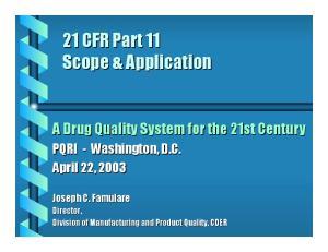 21 CFR Part 11 Scope & Application