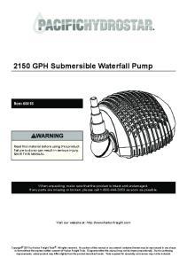 2150 GPH Submersible Waterfall Pump