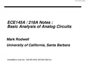 218A Notes : Basic Analysis of Analog Circuits