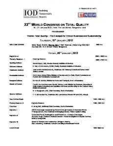 22 ND WORLD CONGRESS ON TOTAL QUALITY