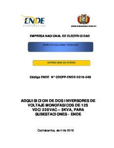 220VAC 5KVA, PARA SUBESTACIONES - ENDE