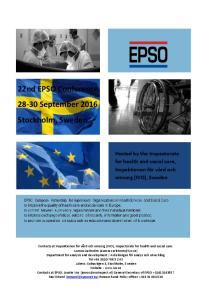 22nd EPSO Conference September 2016 Stockholm, Sweden