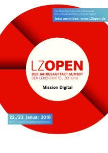 23. Januar Mission Digital DER JAHRESAUFTAKT-SUMMIT DER LEBENSMITTEL ZEITUNG. Jetzt anmelden:
