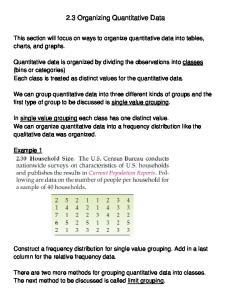 2.3 Organizing Quantitative Data