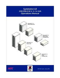 230 V, 4 16 kva Operations Manual. Symmetra LX