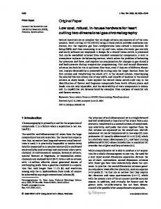 2338 P. Apps J. Sep. Sci. 2006, 29, Original Paper