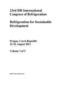 23rd IIR International Congress of Refrigeration. Refrigeration for Sustainable Development