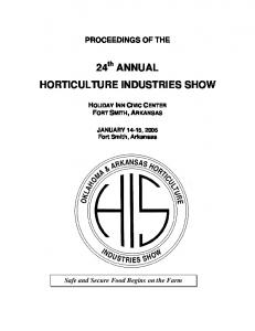 24 th ANNUAL HORTICULTURE INDUSTRIES SHOW