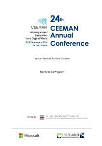 24th. CEEMAN Annual Conference. Management Education for a Digital World. Conference Program September 2016 Tallinn, Estonia