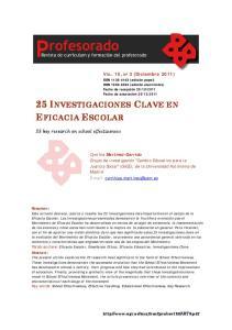 25 INVESTIGACIONES CLAVE EN EFICACIA ESCOLAR