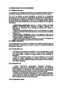 2.5 PRIMER CURSO DEL NIVEL INTERMEDIO Objetivos Generales