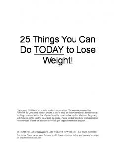 25 Things You Can Do TODAY to Lose Weight!