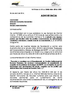 26 de abril de 2016 ADVERTENCIA